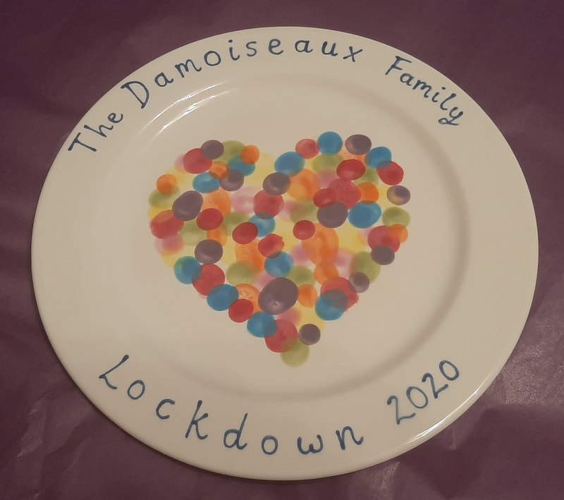 A customers 'Lockdown 2020' plate, with a lovely finger print heart.